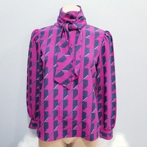 Vintage 80's retro Sasson bow tie shirt blouse top